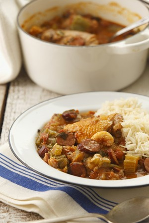 vintage: Gumbo (stew with chicken, prawns and vegetables, USA) LANG_EVOIMAGES