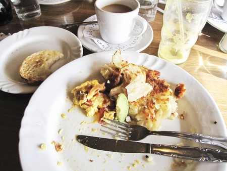 The remains of breakfast on a plate