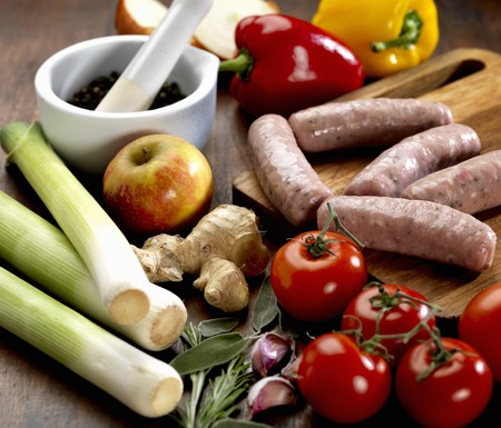 Vegetables, sausages, apples, herbs, ginger and peppercorns LANG_EVOIMAGES