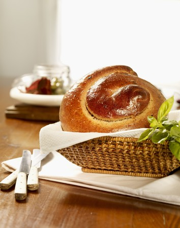 helical: Olive bread spiral in a bread basket