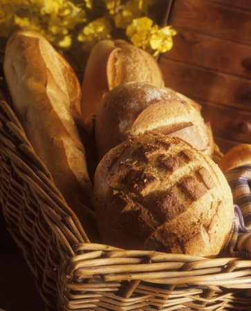 breadbasket: Various types of white bread in a breadbasket LANG_EVOIMAGES