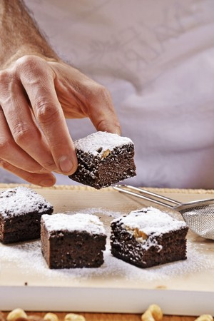 provenance: Brownies with icing sugar
