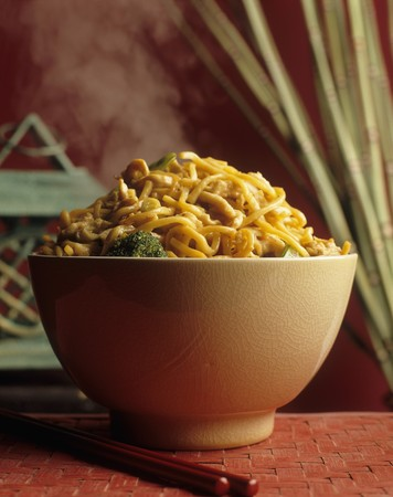 Lo Mein (Chinese noodle dish) with chicken and vegetables