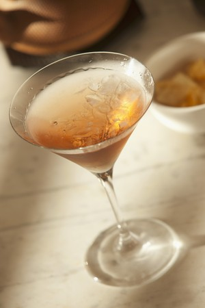 A Mahattan Cocktail with whiskey and red Vermouth