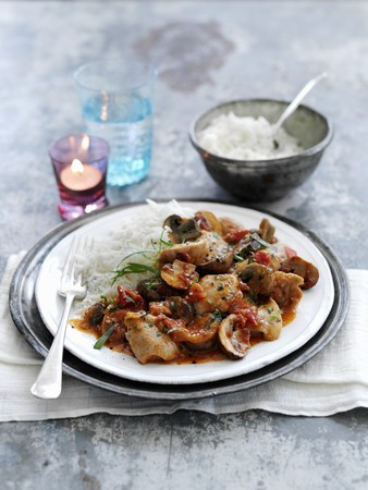button: Chicken chasseur with rice