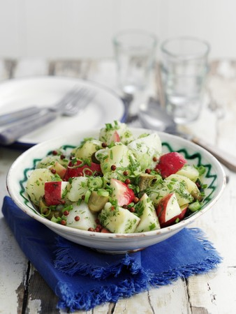 vintage furniture: Potato salad with apple, gherkins and red pepper
