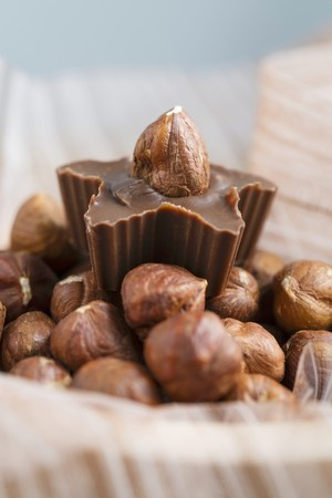 A hazelnut praline on a bed of hazelnuts