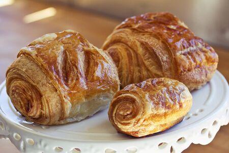danish: Danish pastries on a cake stand