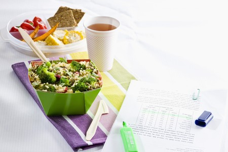 Bulgur salad with lentils and broccoli for a workplace lunch