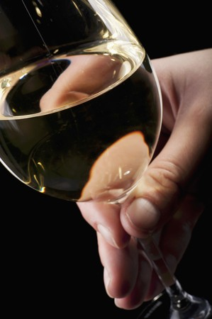 provenance: Hand holding a glass of white wine LANG_EVOIMAGES