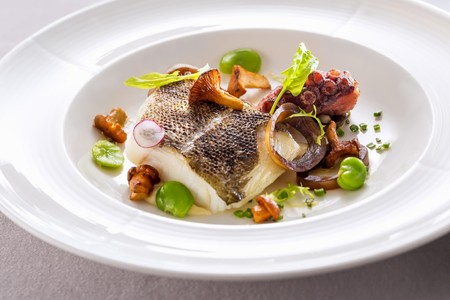 Cod fillet with octopus, broad beans and chanterelle mushroom on mayonnaise LANG_EVOIMAGES
