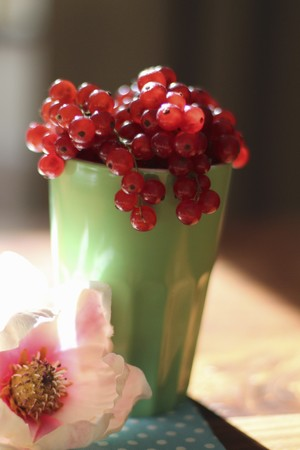 Fresh redcurrants in a cup