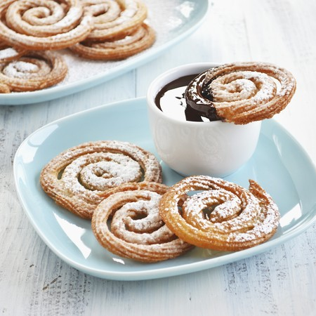 Churros whirls with a chocolate dip