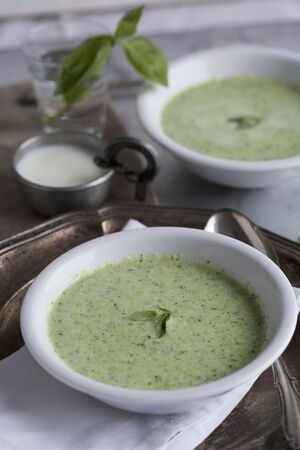 Basil and soured milk soup