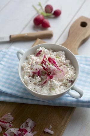 Cream cheese with radishes