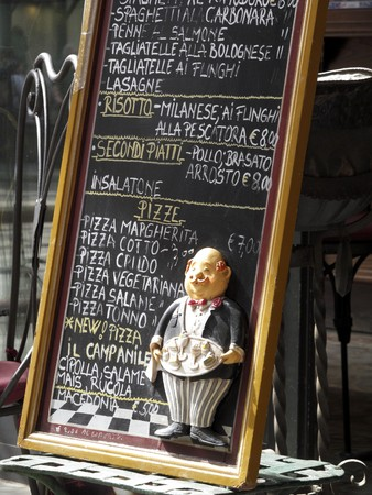 milánó: A menu at the entrance of a restaurant (Milan, Italy) LANG_EVOIMAGES
