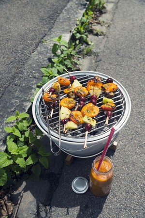 Grilled fruit skewers with sweet BBQ sauce