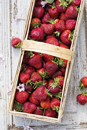 A basket of strawberries outdoors