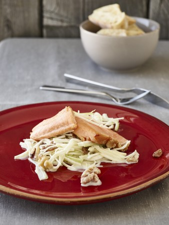Waldorf salad with smoked trout