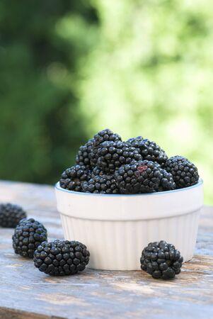 A small pot of fresh blackberries