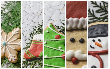 Collage of five partial views of different Christmas cookies