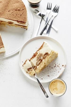 A slice of homemade tiramisu cake
