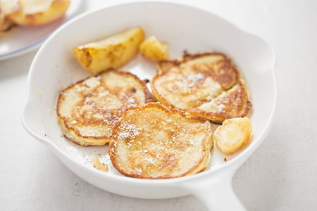 afters: Apple pancakes with icing sugar