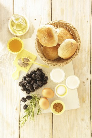 Ingredients for French toast with fried honey blackberries and rosemary LANG_EVOIMAGES
