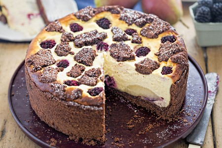 Russian chocolate cheesecake with fruit