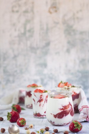 Strawberry, yoghurt, and nut desserts with strawberry and chia seed jam(sugar free) LANG_EVOIMAGES