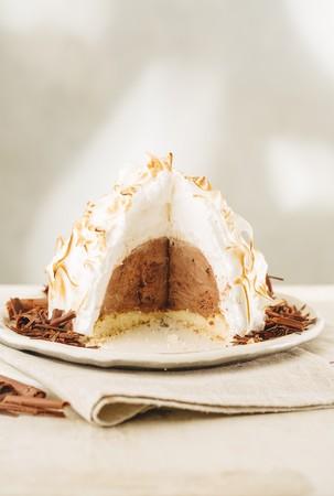Baked Alaska with chocolate, sliced