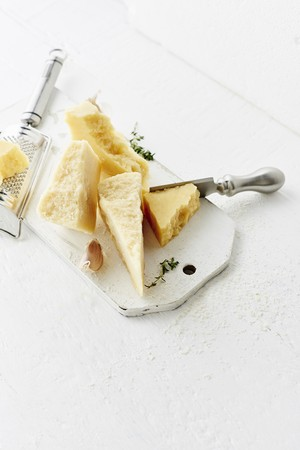 Still life of Parmiggiano-Reggiano and herbs LANG_EVOIMAGES