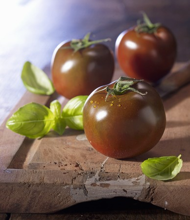 produits alimentaires: Kumato tomatoes on a wooden board with basil