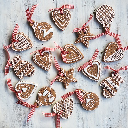 Various gingerbread with white sugar decoration