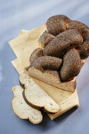 Bread with poppy seeds, sliced