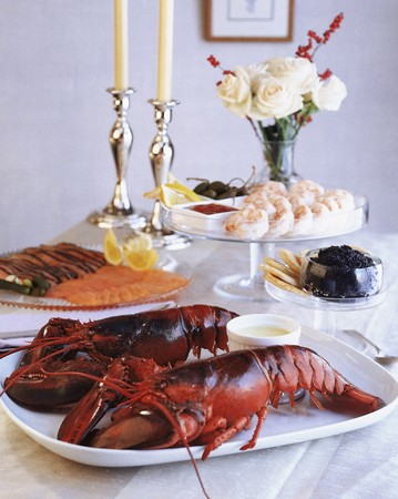 Buffet with seafood