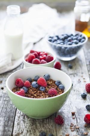 Homemade muesli with fresh raspberries and blueberries