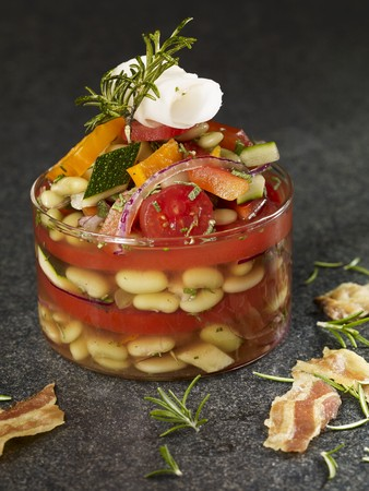 Tomato and bean soup in glass LANG_EVOIMAGES