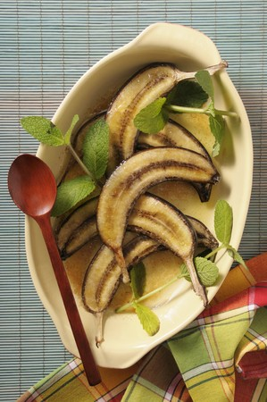 afters: Baked bananas in an oven dish