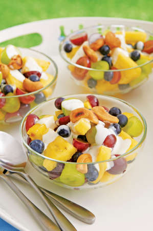 afters: Fruit salad with pineapple, grapes and blueberries