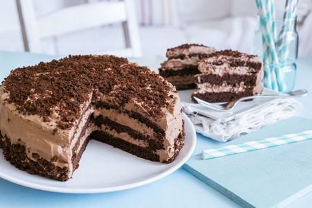gateau: A sliced chocolate cream torte