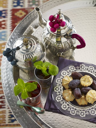 Peppermint tea, dates and biscuits