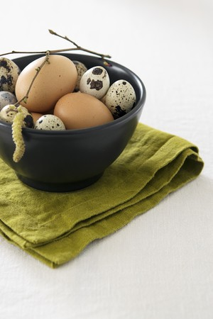 Easter eggs in a small bowl