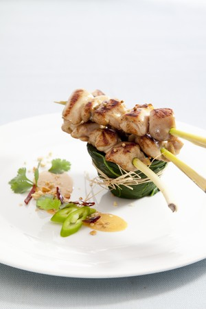 sates: Chicken and lemongrass skewers with peanut sauce