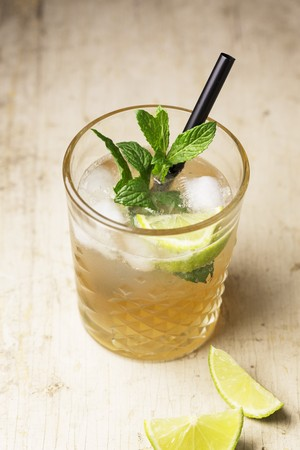 A cocktail with gin, ginger ale and mint LANG_EVOIMAGES