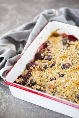 afters: Cherry, raspberry, and pear crumble