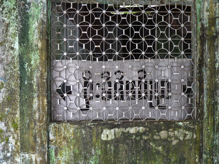 humid: Weathered concrete doorway in Yangon Rangoon, Myanmar BUrma covered with green moss, mold, lichens and fungus from humid weathering over the years.  A metal grille in the frame obscured a sign pointing directions in Mynmar script. Stock Photo
