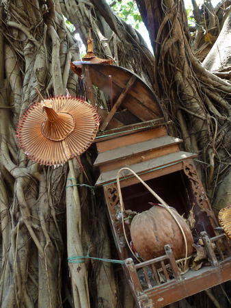 Various wooden non-brand, organic religious items adorn a local holy tree in Burma, Southeast Asia. Local community members place offerings, gifts, mementos, and more.