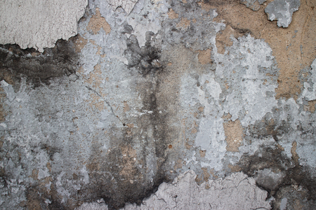 underlying: Medium close up of an old colonial wall in Asia with a variety of textures including prominent black mold, chipped, broken and missing stucco, sandstone, and general weathering of the brown underlying surface.