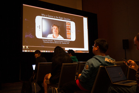 developers: Forum at the 2015 San Francisco Game Developers Conference; this shot illustrates the importance of gaming in educational areas.